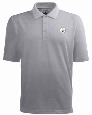 Pittsburgh Steelers Mens Pique Xtra Lite Polo Shirt (Color: Gray)
