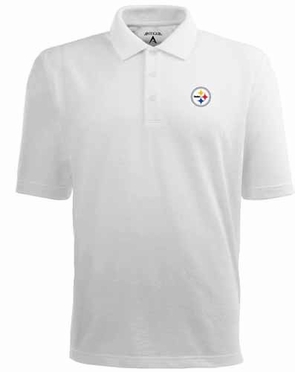 Pittsburgh Steelers Mens Pique Xtra Lite Polo Shirt (Color: White)