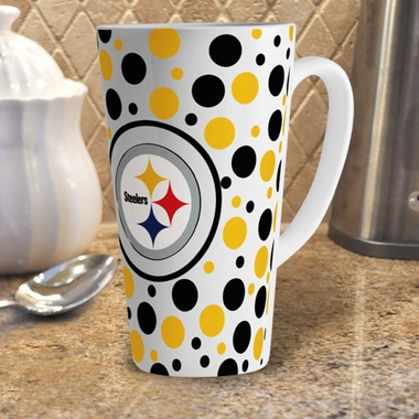 Pittsburgh Steelers Polkadot 16 oz. Ceramic Latte Mug