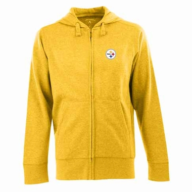 Pittsburgh Steelers Mens Signature Full Zip Hooded Sweatshirt (Alternate Color: Gold)