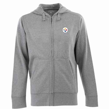 Pittsburgh Steelers Mens Signature Full Zip Hooded Sweatshirt (Color: Gray)
