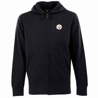 Pittsburgh Steelers Mens Signature Full Zip Hooded Sweatshirt (Color: Black)