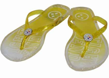 Pittsburgh Steelers Slogan Jelly Flip Flops - Large