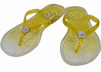 Pittsburgh Steelers Slogan Jelly Flip Flops - Small