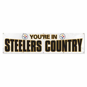 """Pittsburgh Steelers """"Steeler Country"""" 8 Foot Banner (White)"""