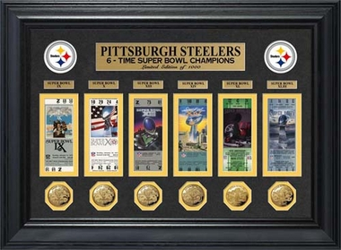 Pittsburgh Steelers Pittsburgh Steelers Super Bowl Ticket and Game Coin Collection Framed