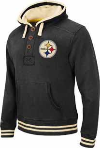 Pittsburgh Steelers Time Out 1/4 Button Hooded Heavyweight Sweatshirt - X-Large