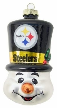 Pittsburgh Steelers Tophat Snowman Glass Ornament