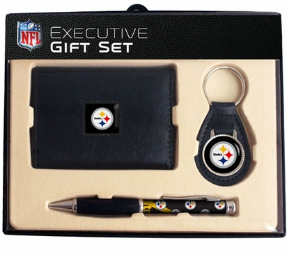 Pittsburgh Steelers Trifold Wallet Key Fob and Pen Gift Set