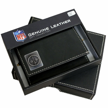 Pittsburgh Steelers Trifold Wallet With Metal Logo