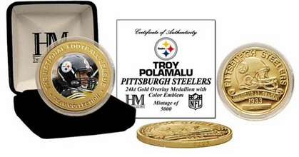 Pittsburgh Steelers Troy Polamalu 24KT Commemorative Coin