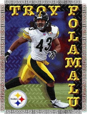 Pittsburgh Steelers Troy Polamalu Jacquard Woven Blanket
