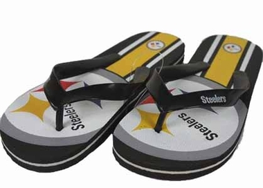 Pittsburgh Steelers Unisex Big Logo Flip Flops - Medium