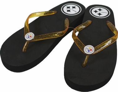 Pittsburgh Steelers Wedge Flip Flops