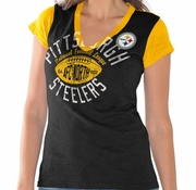 Women's Pittsburgh Steelers Majestic Black More Than Enough V-Neck T-Shirt