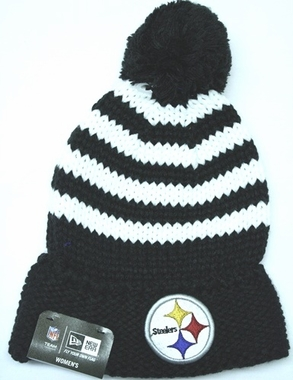 Pittsburgh Steelers Women's New Era NFL Chunky Stripe Fashion Knit Hat