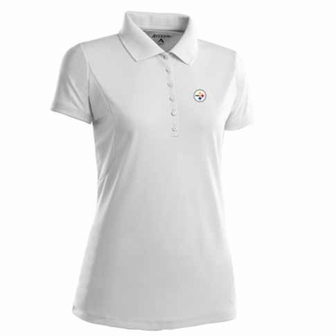 Pittsburgh Steelers Womens Pique Xtra Lite Polo Shirt (Color: White)