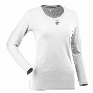 Pittsburgh Steelers Womens Relax Long Sleeve Tee (Color: White)