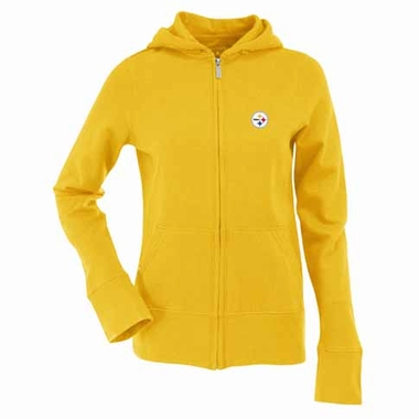 Pittsburgh Steelers Womens Zip Front Hoody Sweatshirt (Alternate Color: Gold)