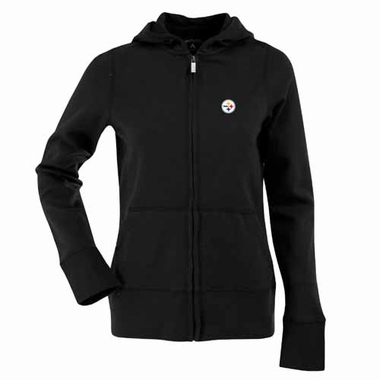 Pittsburgh Steelers Womens Zip Front Hoody Sweatshirt (Team Color: Black)