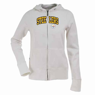 Pittsburgh Steelers Applique Womens Zip Front Hoody Sweatshirt (Color: White)
