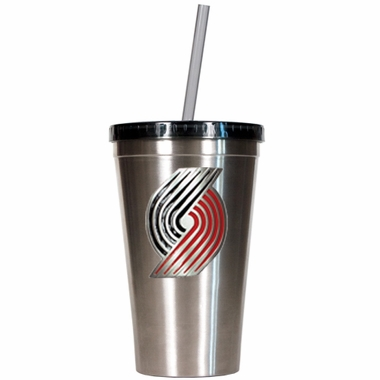 Portland Trailblazers 16oz Stainless Steel Insulated Tumbler with Straw
