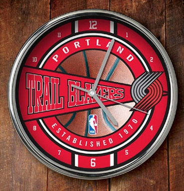 Portland Trailblazers Chrome Clock