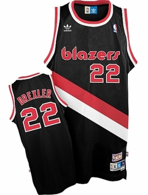 Portland Trailblazers Clyde Drexler Adidas Team Color Throwback Replica Premiere Jersey