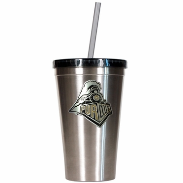 Purdue 16oz Stainless Steel Insulated Tumbler with Straw