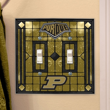 Purdue Art Glass Lightswitch Cover (Double)