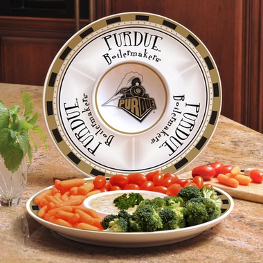 Purdue Ceramic Chip and Dip Plate
