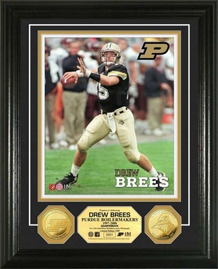 Purdue Boilermakers Drew Brees Purdue University 24KT Gold Coin Photo Mint