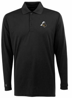 Purdue Mens Long Sleeve Polo Shirt (Color: Black)