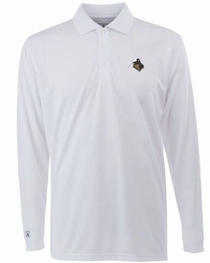 Purdue Mens Long Sleeve Polo Shirt (Color: White)