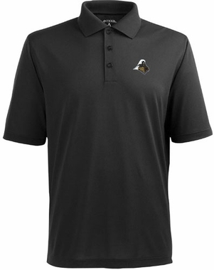 Purdue Mens Pique Xtra Lite Polo Shirt (Team Color: Black)
