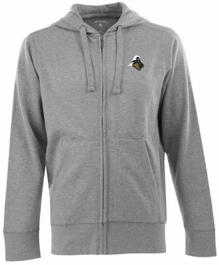 Purdue Mens Signature Full Zip Hooded Sweatshirt (Color: Gray)