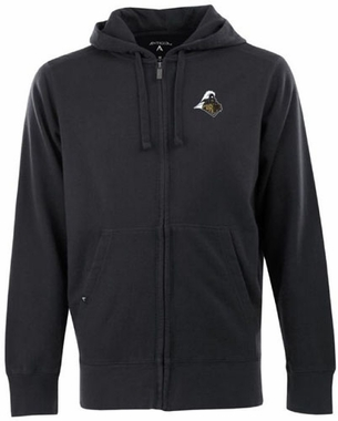 Purdue Mens Signature Full Zip Hooded Sweatshirt (Team Color: Black)