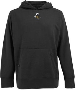 Purdue Mens Signature Hooded Sweatshirt (Team Color: Black) - Large