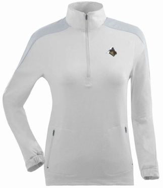 Purdue Womens Succeed 1/4 Zip Performance Pullover (Color: White)