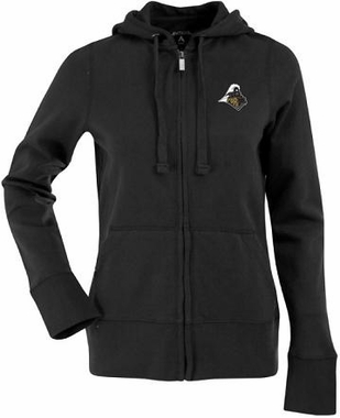 Purdue Womens Zip Front Hoody Sweatshirt (Team Color: Black)