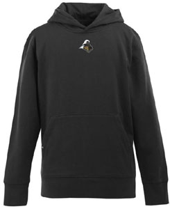 Purdue YOUTH Boys Signature Hooded Sweatshirt (Team Color: Black) - Medium