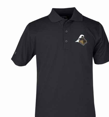 Purdue YOUTH Unisex Pique Polo Shirt (Team Color: Black)