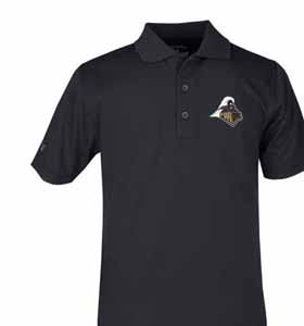 Purdue YOUTH Unisex Pique Polo Shirt (Color: Black) - Large