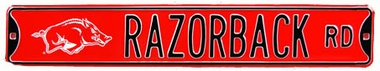 Razorback Rd With Razorback Logo Street Sign