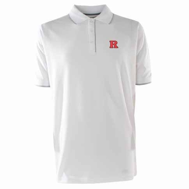 Rutgers Mens Elite Polo Shirt (Color: White)