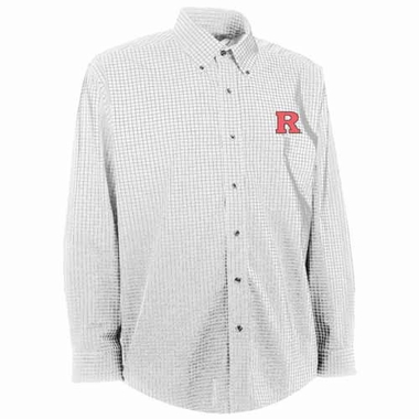 Rutgers Mens Esteem Check Pattern Button Down Dress Shirt (Color: White)