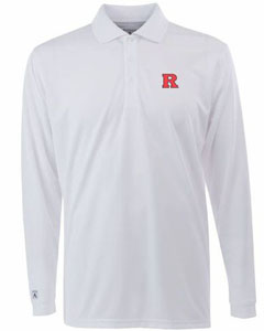 Rutgers Mens Long Sleeve Polo Shirt (Color: White) - Small