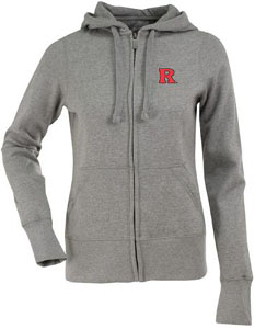 Rutgers Womens Zip Front Hoody Sweatshirt (Color: Gray) - Large