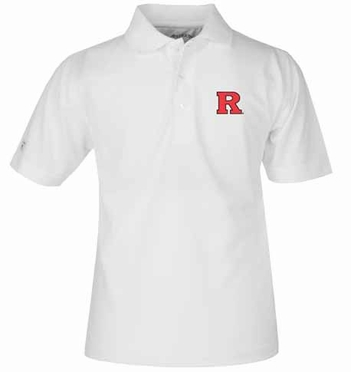 Rutgers YOUTH Unisex Pique Polo Shirt (Color: White)
