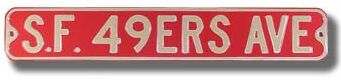 S.F. 49ers Ave Street Sign